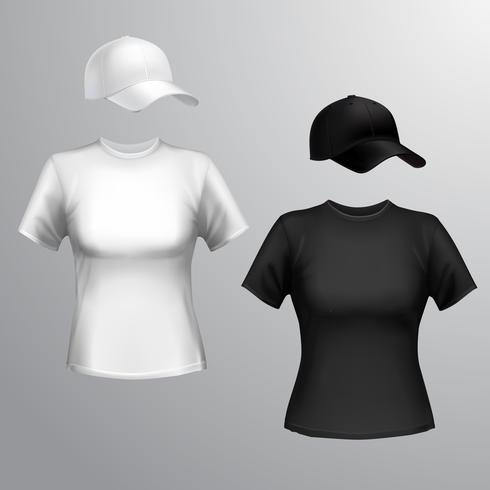 Kvinna t-shirt baseball keps vektor
