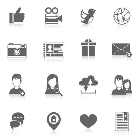 Social Media-Ikonen eingestellt vektor