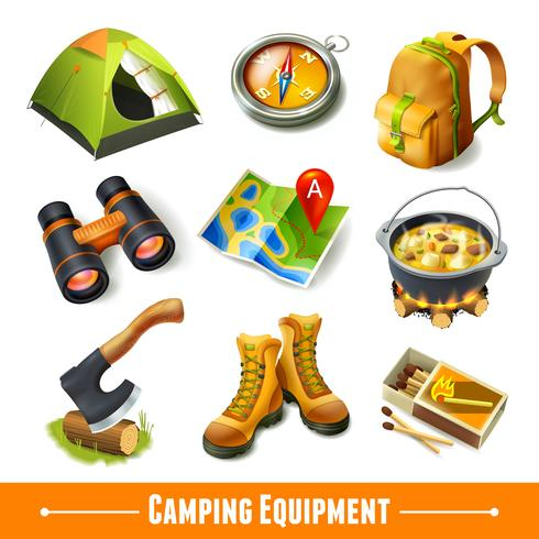 Camping ikoner uppsättning vektor
