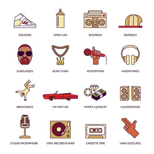 Rap Musik Icons Set vektor