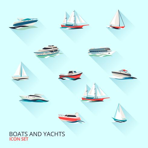 Boote Icons Set vektor