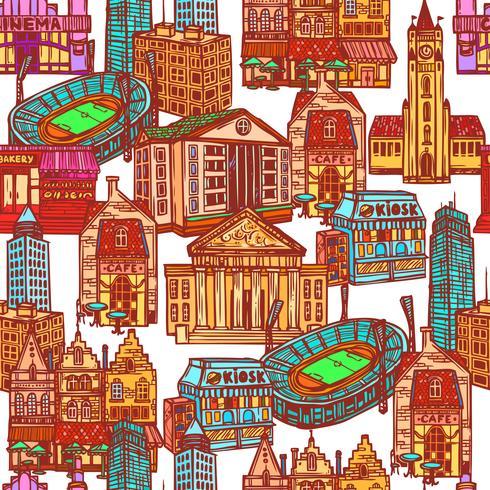 Skizze Stadt nahtlose Muster vektor
