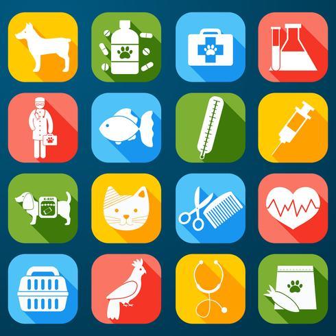 Veterinär ikoner Set vektor