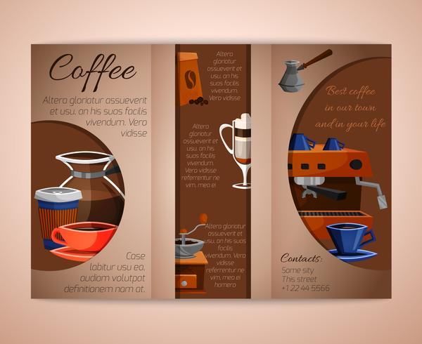 Kaffebroschyr tri-fold vektor