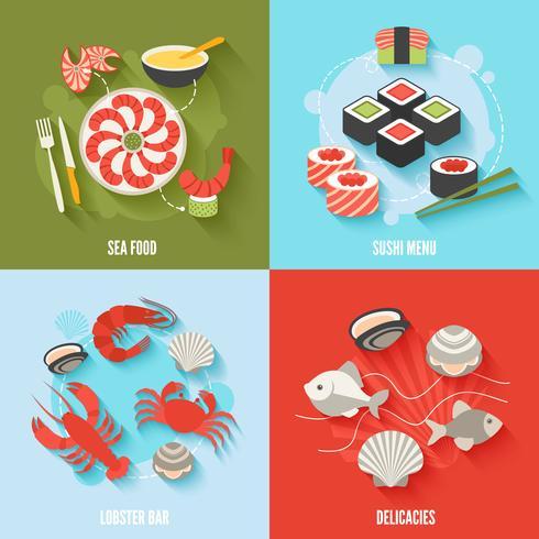 Seafood platt uppsättning vektor