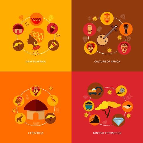 Afrika ikoner platt komposition vektor