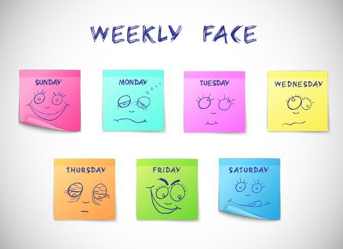 Wöchentliche Kalenderaufkleber vektor