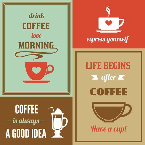 Kaffe minipostset vektor