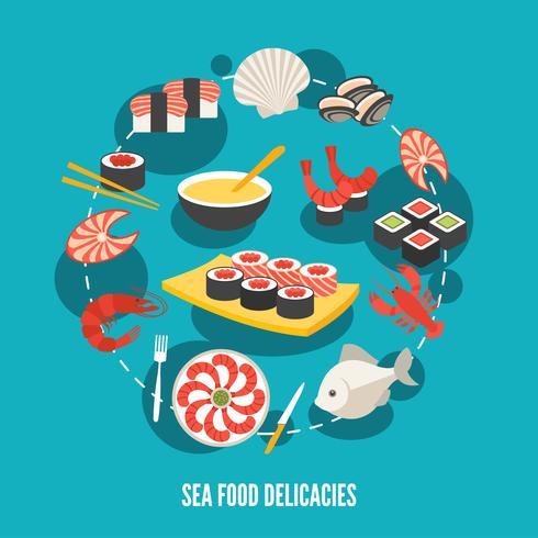 Delikatesser på havet mat vektor