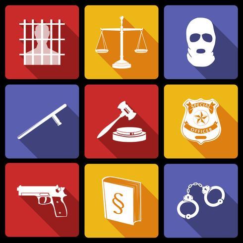 Gesetz und Gerechtigkeit Icons Flat vektor