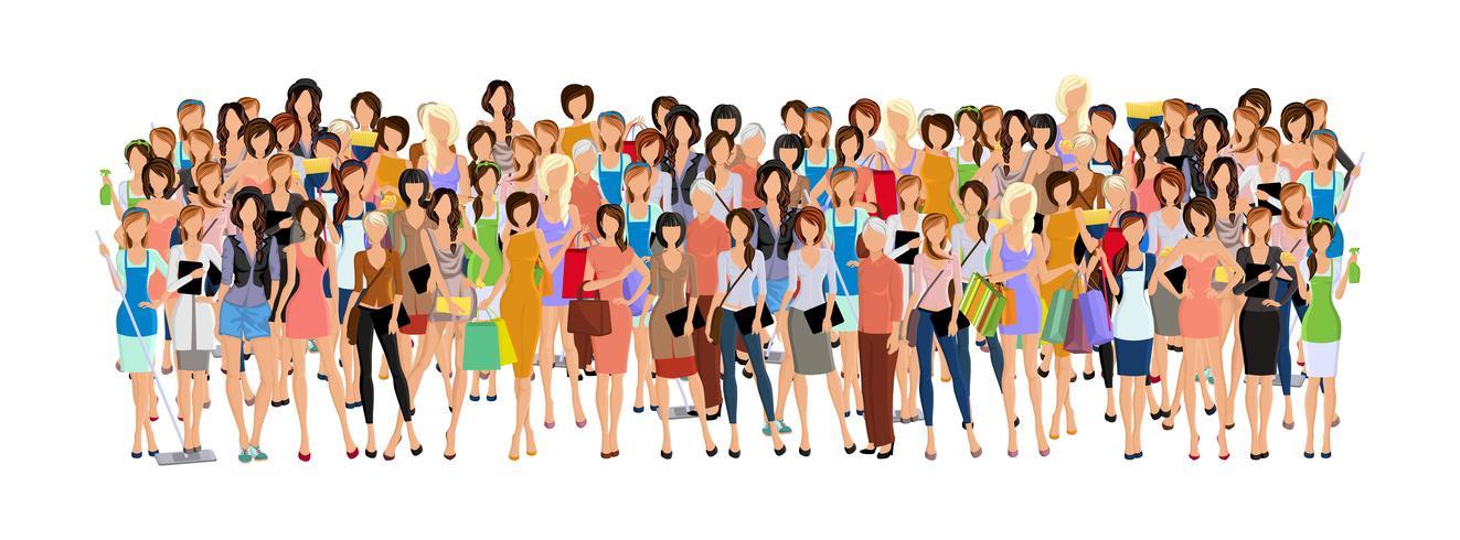 Grupp av kvinna vektor