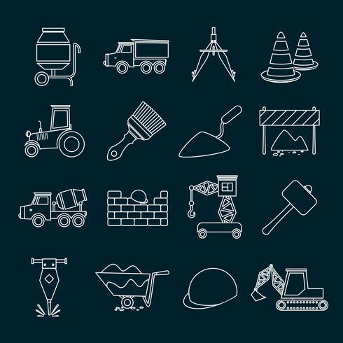 Konstruktion ikoner som skisseras vektor