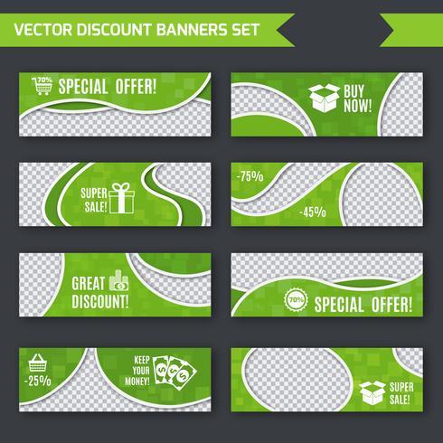 Rabatt Banner grün gesetzt vektor