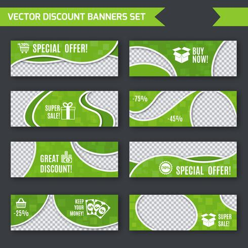 Rabatt banners gröna uppsättning vektor