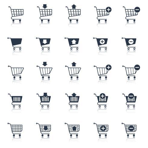 Einkaufswagenikonen schwarz vektor