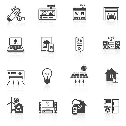 Smart Home Icons schwarz vektor