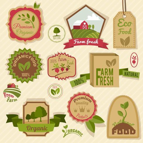 Vintage organiska etiketter vektor
