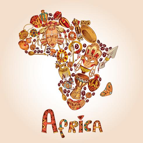 Afrika skiss koncept vektor