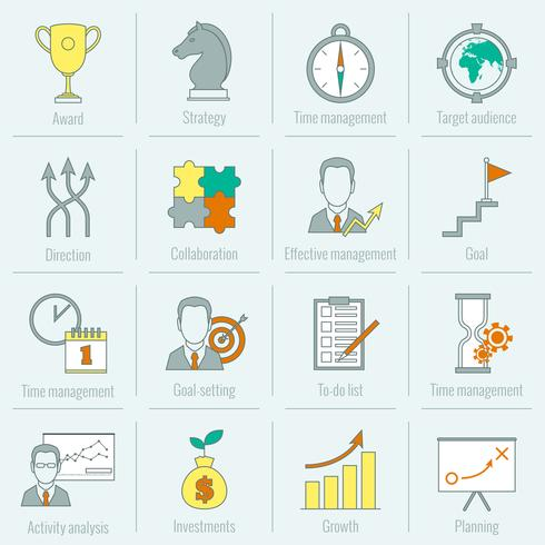 Affärsstrategi planering ikon platt linje vektor
