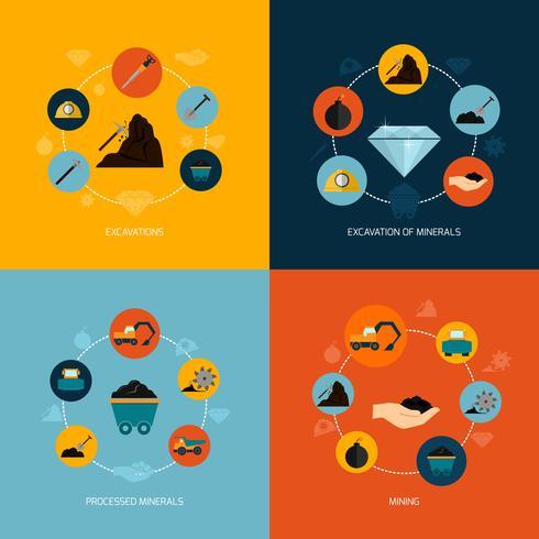 Mining Icons flache Zusammensetzung vektor
