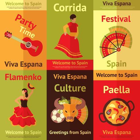 Spanien retro affischer sätta vektor
