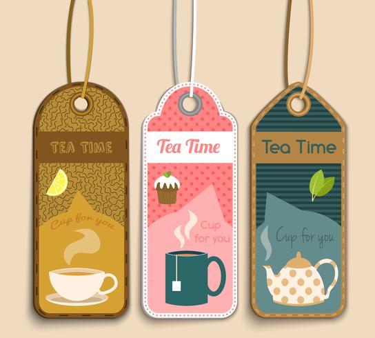 Tee-Etiketten gesetzt vektor