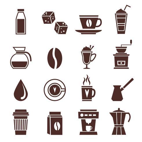 Kaffe ikoner monokrom vektor