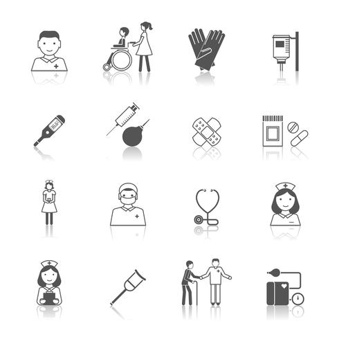 Krankenschwester-Icon-Set vektor