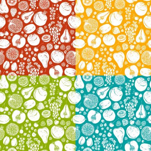 Obst und Beeren skizzieren Sie nahtloses Muster vektor