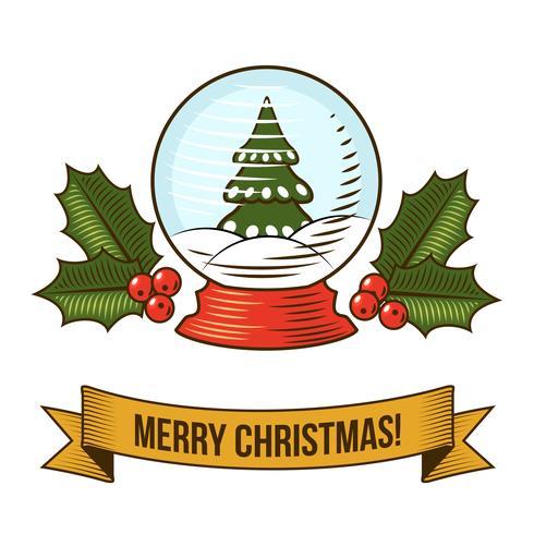 Weihnachten Schneekugel-Symbol vektor
