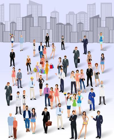 Grupp av människor i staden vektor