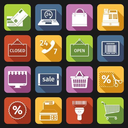E-handelsikoner ställs in i plattform vektor