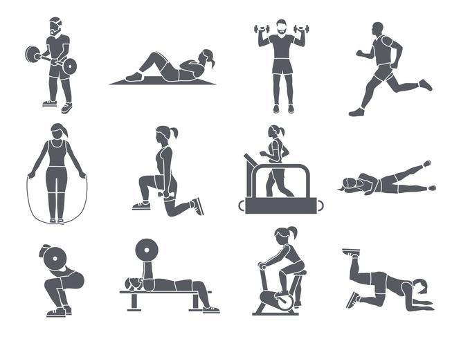 Gym Sport Övningar Ikoner vektor