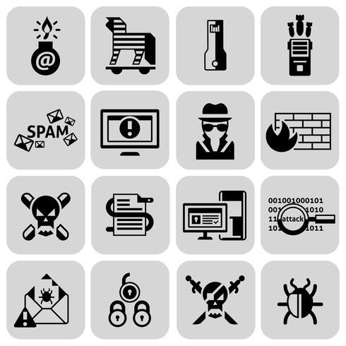 Hacker-Icons schwarz gesetzt vektor