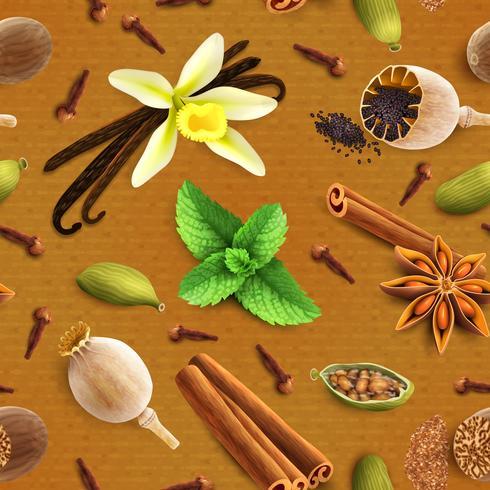 Kryddor sömlöst mönster vektor