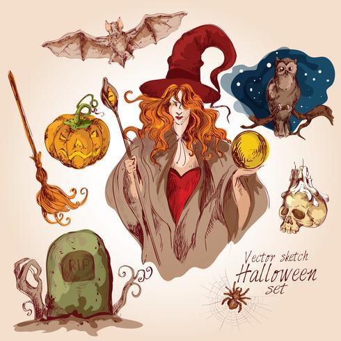 Halloween farbige Skizze eingestellt vektor