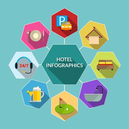 Hotell platt infographics vektor