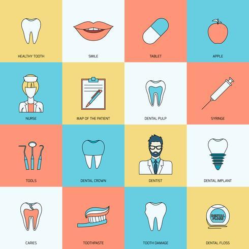 Tänder ikoner platt vektor