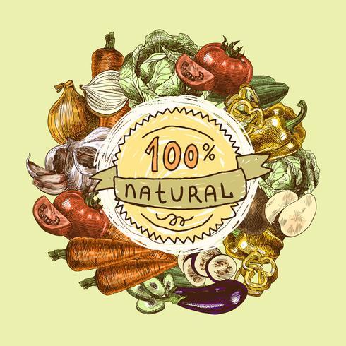 Grönsaker skiss bakgrund vektor