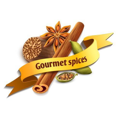 spice ribbon badge vektor