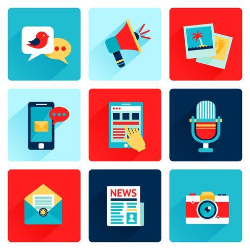 Media ikoner platt vektor