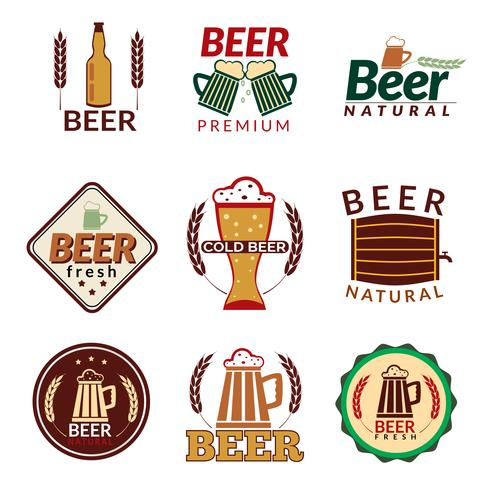 Bier farbige Embleme vektor