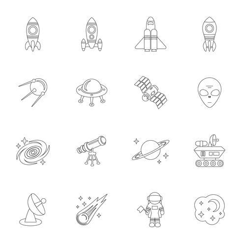 Raum Symbole umreißen vektor