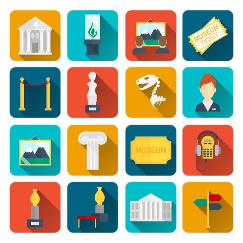 Museum ikoner platt vektor