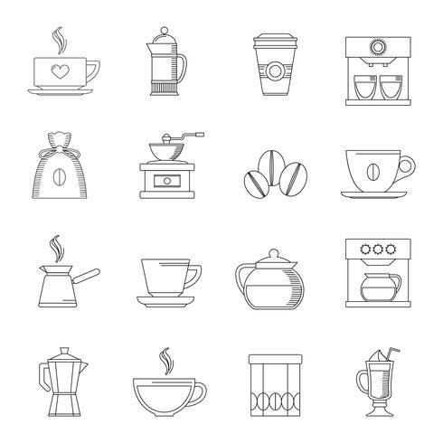 Kaffe ikoner skiss vektor