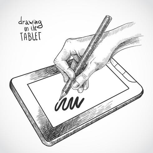 Handritning på tabletten vektor