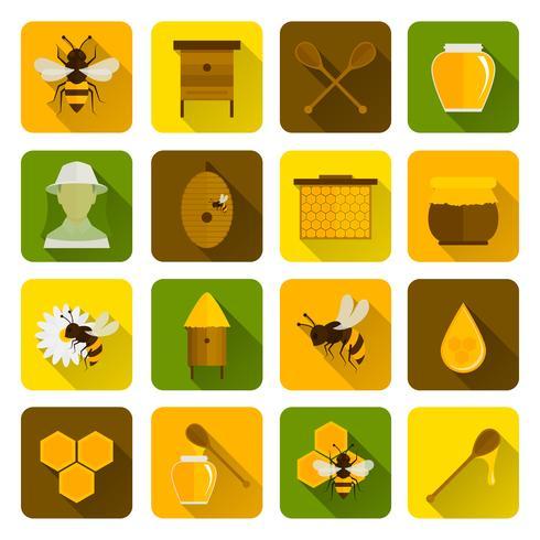 Bee Honey Ikoner Flat vektor