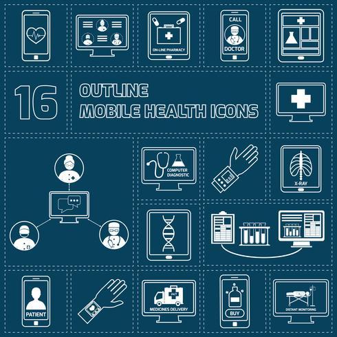 Mobile Gesundheitsikonen stellen Umriss ein vektor