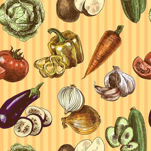 Grönsaker skissa färg sömlöst mönster vektor