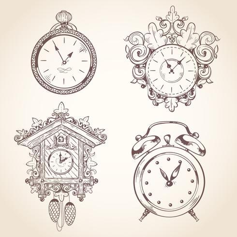 Alte Vintage Uhr eingestellt vektor